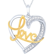 14K Gold Over Sterling Silver 1/10 CTW Diamond Pendant