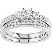 Diamore 14K White Gold 1/2 CTW Diamond 3 Stone Bridal Set