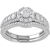 Diamore 14K White Gold 1 1/8 CTW Diamond Halo Graduated Bridal Set