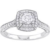 Diamore 14K White Gold 1 CTW Diamond Double Halo Vintage Engagement Ring