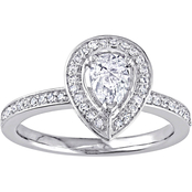 Diamour 14K White Gold 5/8 CTW Pear and Round Diamond Halo Ring