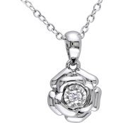 Diamore Sterling Silver Diamond Accent Flower Pendant