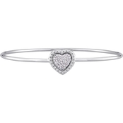 Diamore Sterling Silver 1/7 CTW Diamond Two In One Heart Bangle