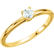 Karat Kids 14K Yellow Gold Imitation Diamond Birthstone Ring, Size 3