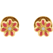 Karat Kids 14K Yellow Gold Enameled Floral Earrings