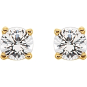 Karat Kids 14K Yellow Gold Imitation Diamond Earrings