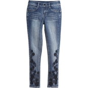 Squeeze Girls Black Scroll Embroidery and Bling Jeans