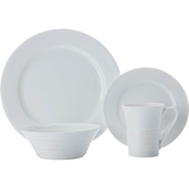 Fitz and Floyd Maxwell and Williams White Basics Cirque Dinnerware 16 Pc. Set
