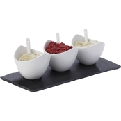 Fitz and Floyd 7 Pc. White Basics Slate Rectangle Dipping Set