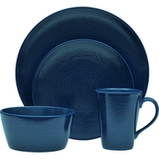 Noritake  Navy on Navy Swirl Coupe 4 pc. Place Setting