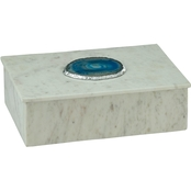 Dimond Home Antilles Box in White Marble and Blue Agate