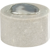 Dimond Home Antilles Round Box in White Marble and Agate