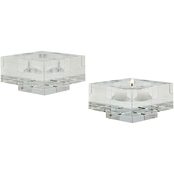 Dimond Home Small Square Windowpane Crystal Candleholders, Set of 2