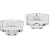 Dimond Home Small Round Windowpane Crystal Candleholders, Set of 2