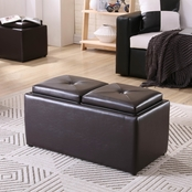 Hodedah Rectangular Ottoman with Storage and 2 Flip Over Trays