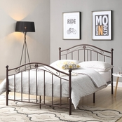 Hodedah Antique Style Twin Metal Bed