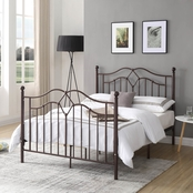 Hodedah Full Size French Spindle Style Metal Poster Bed
