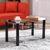 Hodedah 2 Tier Rectangle Tempered Glass Coffee Table