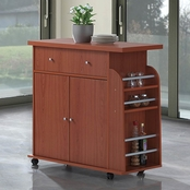Hodedah Kitchen Island with Spice Rack and Towel Rack
