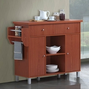 Hodedah Kitchen Island with Spice Rack