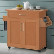 Hodedah Kitchen Island with Towel Rack