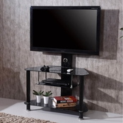 Hodedah Tempered Glass Entertainment Stand with Swivel TV Mount