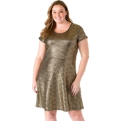 Michael Kors Plus Size Foil Cap Sleeve Dress