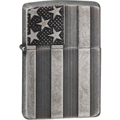 Zippo U.S. Flag Armor Antique Silver Plate Lighter