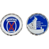 Challenge Coin Ft. Drum 10th Mountain Tough Coin