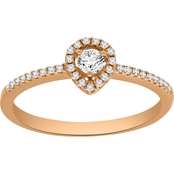 10K Rose Gold 1/4 CTW Diamond Petite Pear Shape Halo Ring, Size 7