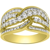 10K Yellow Gold 1 CTW Tapered Baguette and Round Diamond Bypass Ring, Size 7