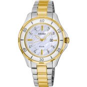 Seiko Women's Solar Diamond Accented Two Tone Stainless Steel Watch 32.8mm SUT338