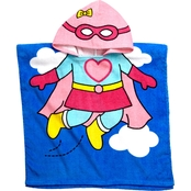 Vitamins Baby Toddler Girls Hero Hooded Beach Towel Cover Up, One Size