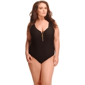 Paramour Plus Size Crochet Tank One Piece Swimsuit