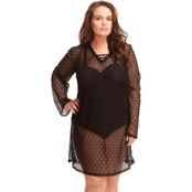 Paramour Plus Size Lace Up Crochet Cover Up