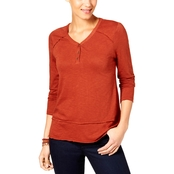 Style & Co Petite Henley High-Low Top