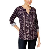 Style & Co Petite Printed Utility Shirt
