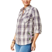Style & Co Petite Cotton Embroidered Plaid Shirt