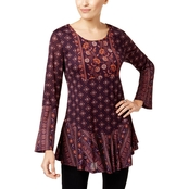 Style & Co Petite Mixed-Print Ruffled Tunic