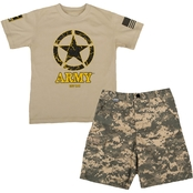 Trooper Clothing Kids Army Tee and Shorts 2 Pc. Set