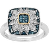 Sterling Silver 1/7 CTW Enhanced Blue Diamond Art Deco Square Ring, Size 7