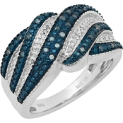 Sterling Silver 1/4 CTW White And Blue Diamond Wave Ring, Size 7