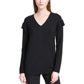 Calvin Klein Collection V Neck Top with Ruffle Sleeves