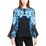 Calvin Klein Collection Printed Bell Sleeve Blouse