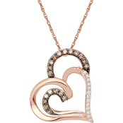 10K Rose Gold 1/5 CTW White and Champagne Diamond Heart Pendant