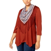 Style & Co Plus Size Handkerchief-Hem Top with Removable Scarf