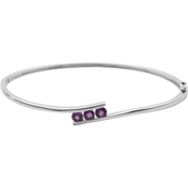 Sterling Silver Genuine Amethyst Three Stone Bypass Hinged Bangle