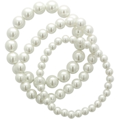 Cherish White Pearl Multi 3 Row Strand Bracelet