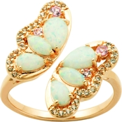 14K Gold Over Sterling Silver Created Opal/Sapphire Butterfly Ring, Size 7