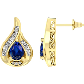 14K Gold Over Sterling Silver Created Sapphire & Created White Sapphire Earrings